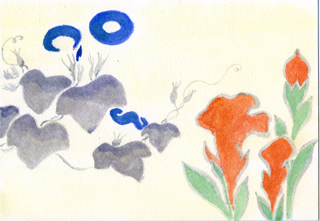 Design of Morning–glory and Other Flowers by Ogata Kōrin