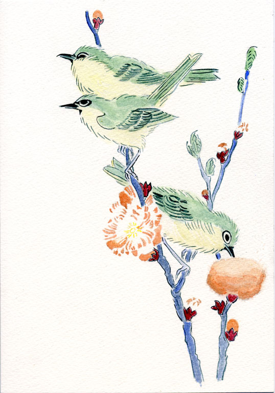 "Japanese White-eyes on a Branch of Peach Tree,"" from the Series An Array of Birds (Tori awase), from Spring Rain Surimono Album (Harusame surimono-jō, vol. 3) by Kubo Shunman (Japanese, 1757–1820)"