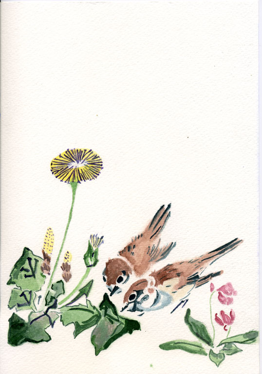 Spring Rain Collection (Harusame shū), vol. 3: Sparrows and Dandelions Teisai Hokuba