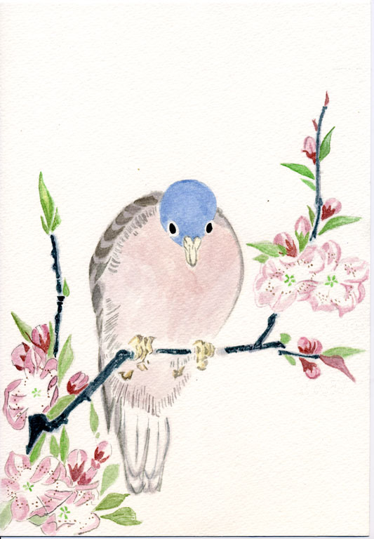 Mountain Dove and Peach Flowers Teisai Hokuba
