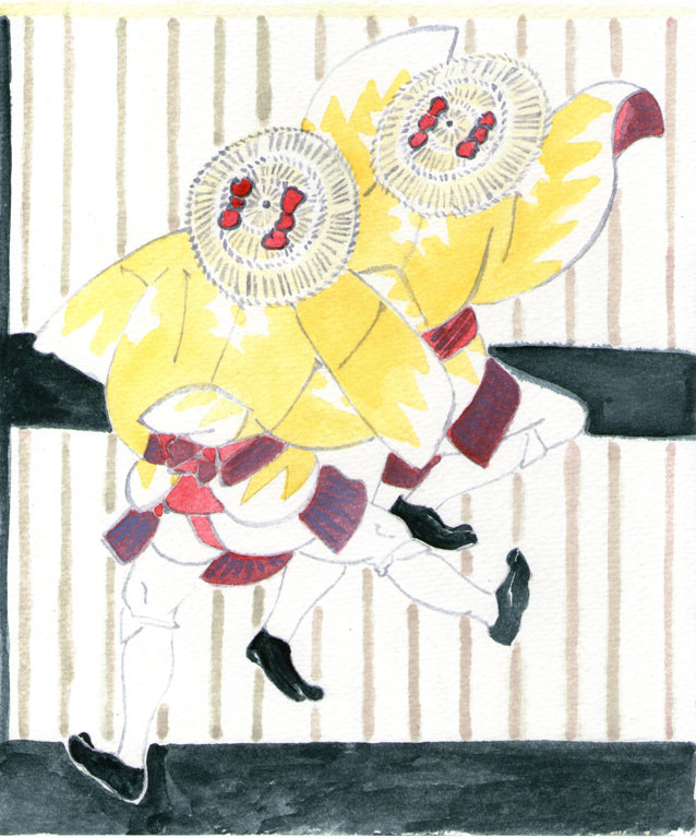 Two Men Wearing Yellow Coats and Straw Hats with Red Bows by Yashima Gakutei