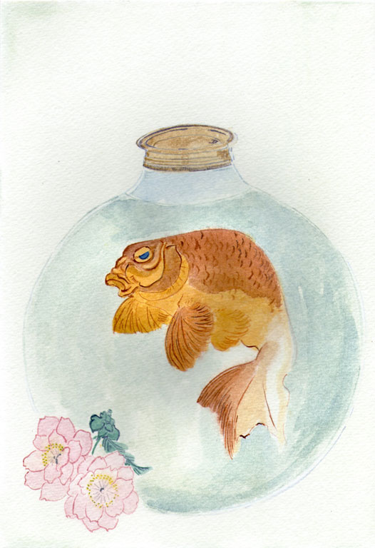 Gold-Fish in a Glass Bottle by Totoya Hokkei